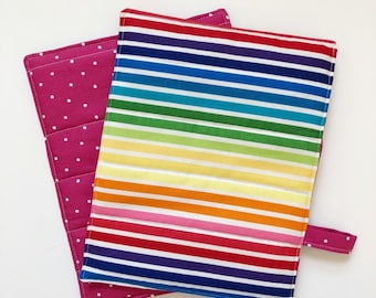 Pot Holders: Set of Two Rainbow/Dotted Pattern Hot Pads