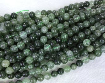 "Genuine Natural Brazil Green Needle Rutitle Quartz Crystal Semi-precious stones Round Loose Beads 6mm 8mm 10mm 12mm  15.5"" 05400"