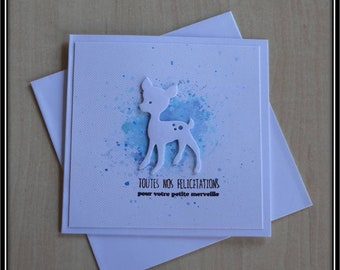 Congratulation card for a newborn fawn on a blue background