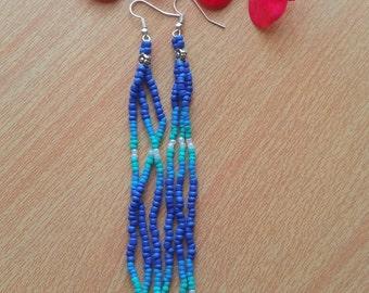 Extra long earrings Long seed bead earrings Long dangle earrings Long fringe earrings