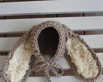 Bunny Bonnet, Baby Bunny Hat, Bunny Hats, Newborn Hats, Infant Hats,Bunny Beanies, Kids Hats, Children Hats, Photo Prop