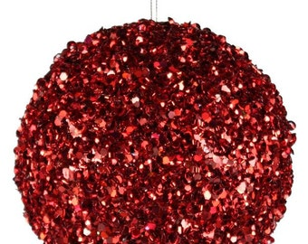 100mm Red Bead Glitter Ornament, Red Glitter Ball Ornament, Red Glitter Christmas Ornament, Christmas supplies - XY658024