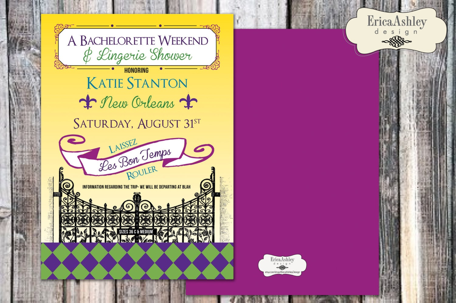 New Orleans Mardi Gras Bachelorette Party Invitation 5 X 7