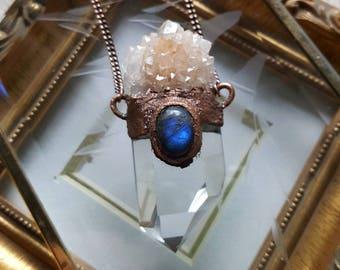 Empress Necklace, Blue Labradorite, Clear Quartz Point, Spirit Quartz. Copper Electroformed, Healing Crystals