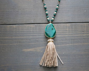 Gold Dipped Jasper Pendant with Ostrich Suede Crystal Tassel Necklace
