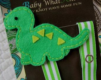 Boy Dinosaur Pacifier Clip, Green Dino Pacifier Clip, Pacifier Holder, pcdino01