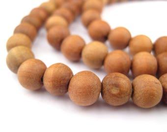 108 Natural Sandalwood Mala Beads: Mala Necklace Yoga Meditation Wood Mala Beads Round Shaped Beads Rustic Wood Beads (WOD-RND-BRN-934)