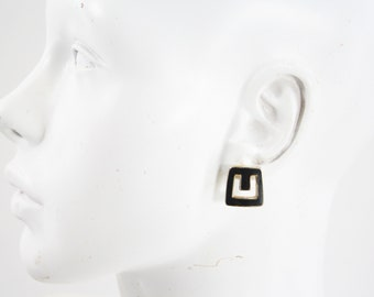Vintage Gold Tone and Black Square Abstract Retro Pierced Earrings