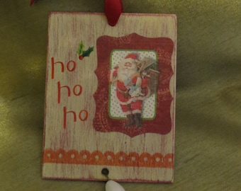 Ho Ho Ho wooden gift tag ornament with bead