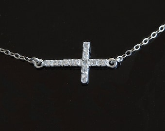 Kelly Ripa's Diamond Sideways Cross Necklace in Sterling Silver with Cz's 3/4 inch Center or Off Center