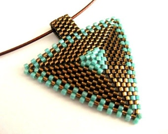 Peyote Triangle Pendant / Beaded Pendant in Brown and Turquoise  / Geometric Pendant / Seed Bead Pendant / Beaded Necklace / Beadwork
