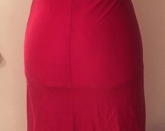 Vintage 1970s Pink Halter Dress VTG 70s Disco Hot Pink Dress With Angled Collar