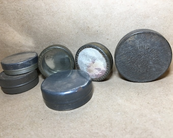 6 Tiny Watchmaker TINS Watch Parts Steampunk Mini Tin Cases Part Storage Early 1900s Lot (W-3)
