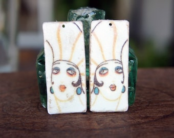 PAIR of Polymer Clay Decal Earring Pendants 1920s Flapper Woman