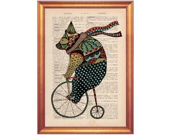 vintage Circus bear on dictionary book page illustration wall art decor handmade illustration on dictionary book page circus bear
