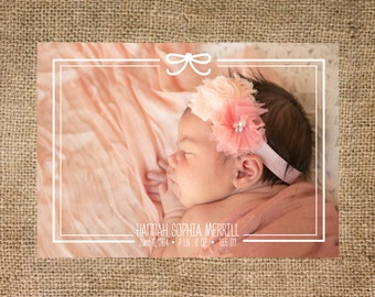 Birth Announcement girl, Photo Card, printable