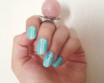 Rose Quartz Crystal Ball Ring -- Quartz Orb -- Adjustable Ring -- Quartz Ring -- Bohemian -- Crystal Ring -- Gypsy Vibes -- Gypsy Jewelry