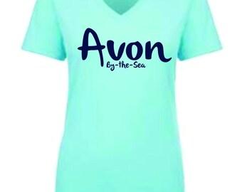 Custom T-Shirt, Avon By-The-Sea T-Shirt, V-Neck T-Shirt, Ladies T-Shirt
