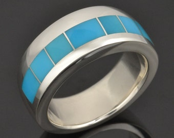 Turquoise Wedding Ring in Sterling Silver, Turquoise Wedding Band, Blue Turquoise Ring