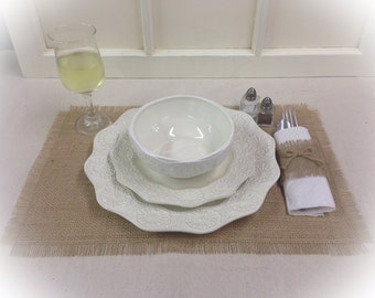 """Burlap Placemat sets 12"""" x 18"""" - Home decorating Holiday decor Wedding decor Hosewarming gift Burlap placemats"""