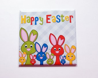 Easter Bunny, Bunnies, Happy Easter Magnet, Magnet, Fridge magnet, Easter, Easter Rabbit, Easter gift, Easter magnet, bright colors (7389)