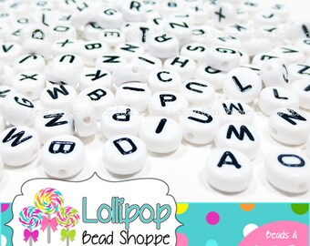 7mm ALPHABET Beads Letter Beads 200 Mixed Letters Little Round Beads White & Black Beads Acrylic Beads Letters For Stretchy Name Bracelets