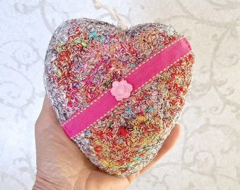 Pink Ribbon Silk Heart - Handmade Heart Shaped Silk Tapestry Ornament Keepsake - Unique Valentine's, Mother's Day, Wedding Anniversary Gift
