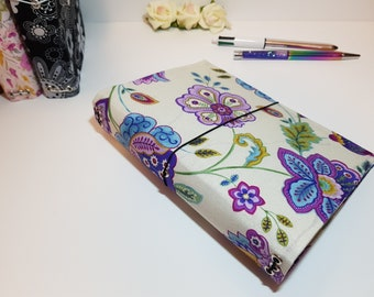 B6 Travelers Notebook - Purple Floral Fabric