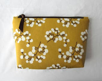 Cosmetic bag makeup bag mother's day gift for her gold green berries with dark brown (CP17-010)