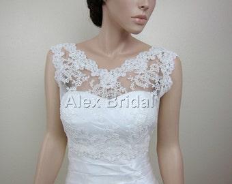 V-neck re-embroidered Lace bolero jacket Bridal Bolero Wedding jacket wedding bolero bridal shrug bridal jacket