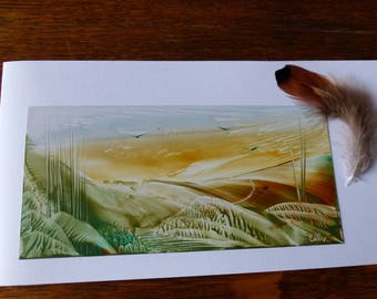 Original Encaustic Painting greeting card. The countryside