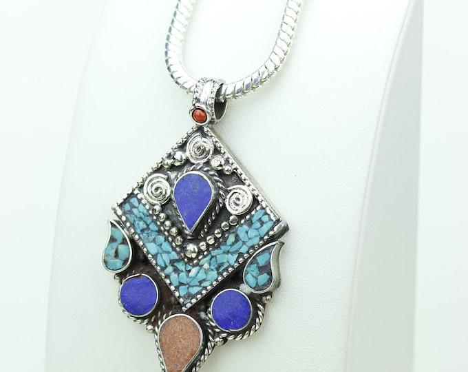 Coral Turquoise Native Tribal Ethnic Vintage Nepal Tibetan Jewelry OXIDIZED Silver Pendant + Chain P3978