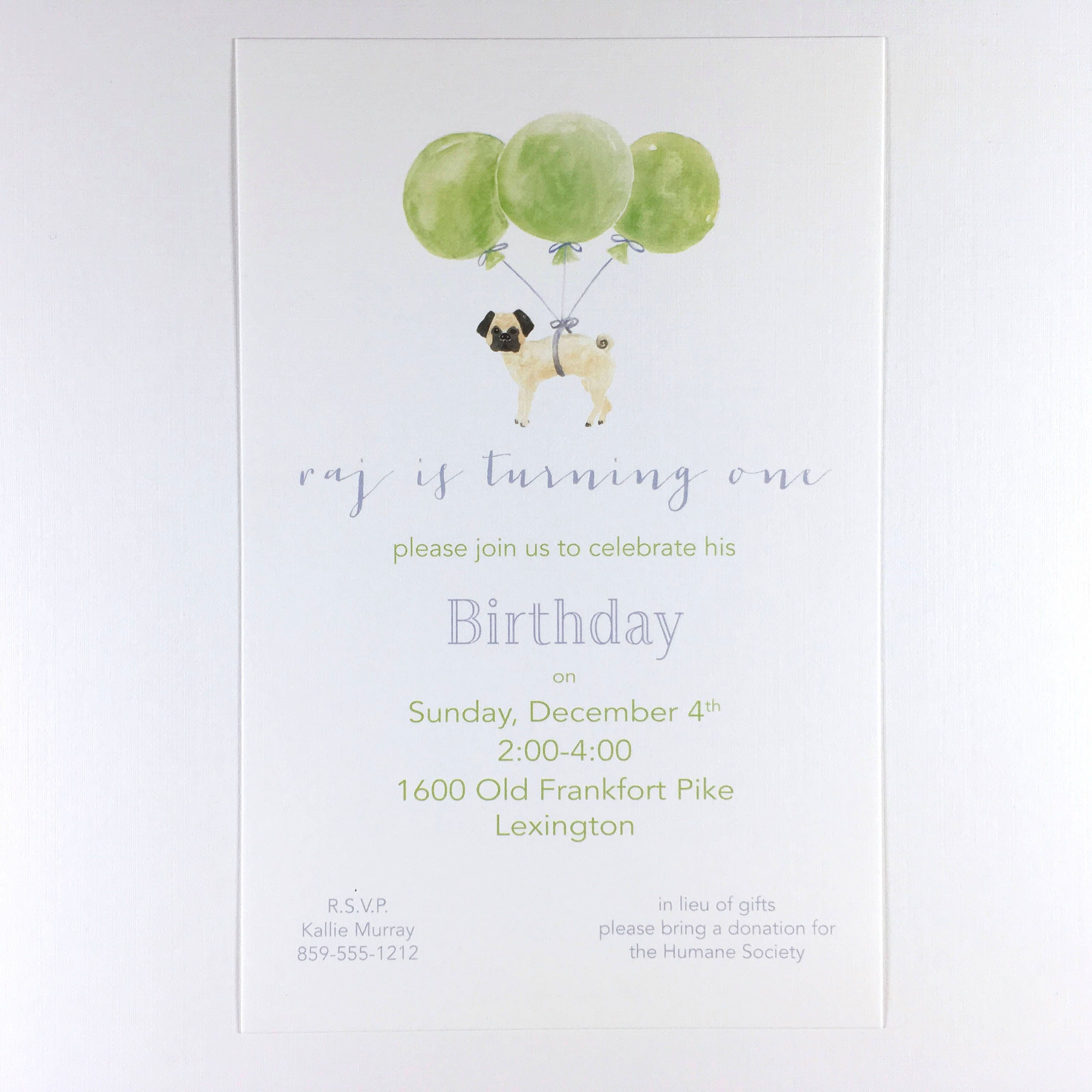 Childrens invitations birthday party childs party pug balloons gallery photo gallery photo stopboris Image collections