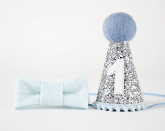 First Birthday Party Hat of Glitter | Birthday Outfit Boy | Baby Boy Cake Smash Photo Prop | 1st Birthday Hat | Silver + Baby Blue