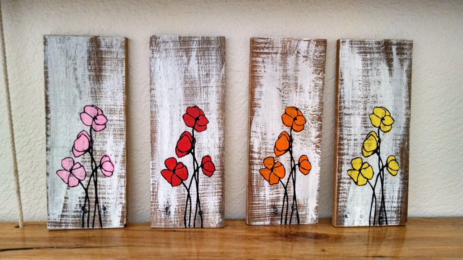 Do It Yourself Home Decor Crafts Hand Painted Poppy Flower Pallet Board Art Wall Hanging Wood