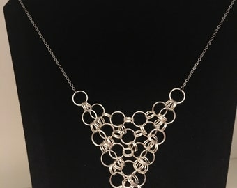 Necklace Silver Chainmaille Descending