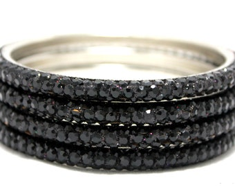 Black bangle - 3 row