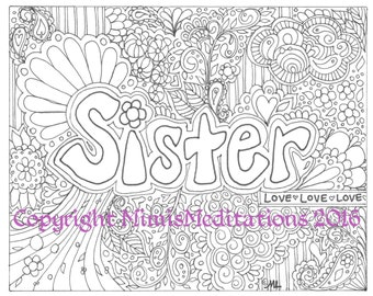 """Adult Coloring Page """"Sister"""""""
