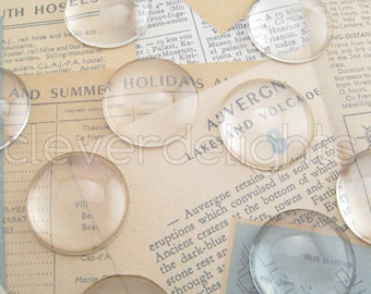 """20 Glass Cabochons 25mm - 1"""" Clear Round Magnifying Dome Cabs - For Cameo Pendants, Photo Jewelry, Rings Necklaces - 1 inch"""