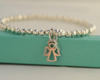 Silver Angel bracelet. Angel charm bracelet.  Sterling Silver Stretch Angel bracelet. Stacking,Layering  bracelet. Communion gift