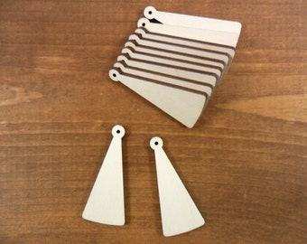 "Wood Earring Tapered Shapes Jewelry Blanks 2"" H x 7/8"" W x 1/8"" Laser Cut Necklace Pendant - 25 Pieces"