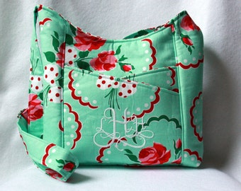 Cross Body Tote Bag in Aqua and Red Retro Floral with Polka Dots