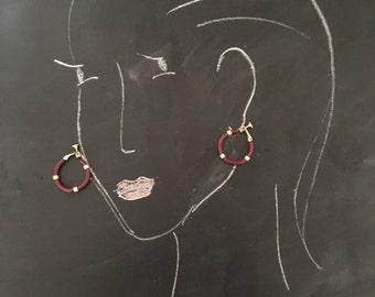 Vintage Napier Burgandy and Gold Twist Back Hoop Earrings.