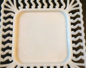 Vintage Westmoreland Square milk glass plate with lace