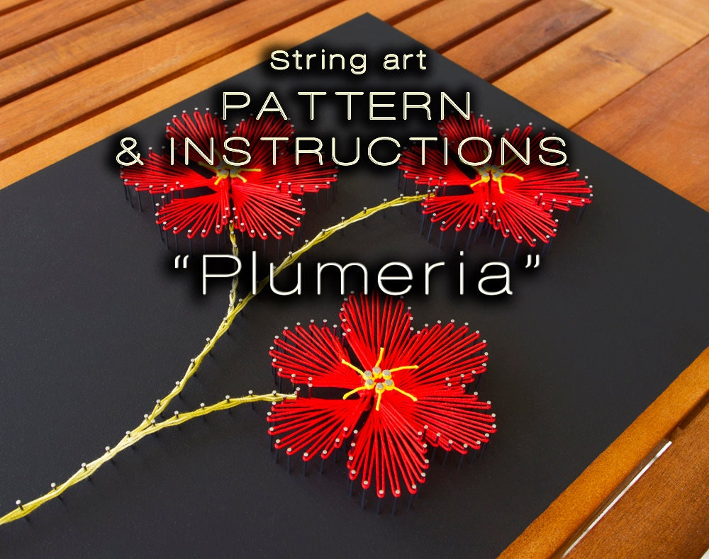 String art pattern instructions plumeria diy string art this is a digital file baditri Image collections
