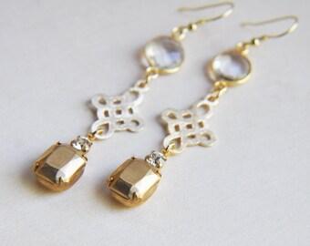 Bohemian Wedding, Boho Wedding, Rustic Wedding, Wedding Earrings, Bohemian Earrings, Boho Earrings, Cross Earrings, Quartz Earrings, Gold