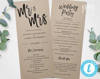 Mr & Mrs Wedding Program Template, 1/2 page Printable Program, Instant Download Ceremony Program, DIY Wedding Program, Rustic Wedding,
