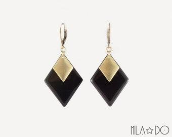 Tina Earrings in Black || Diamond Earrings