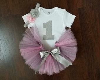 Baby Girl 1st Birthday Outfit - Pink and Gray Tutu