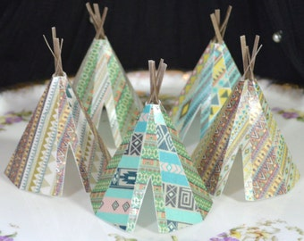 Edible Teepee's 3D 5 Native Tribal Boho Tipi Wafer Paper Bohemian Wedding Cake Decoration Wild One Rustic Birthday Cupcake Cookie Topper